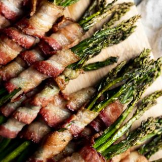 bacon wrapped asparagus close up photo
