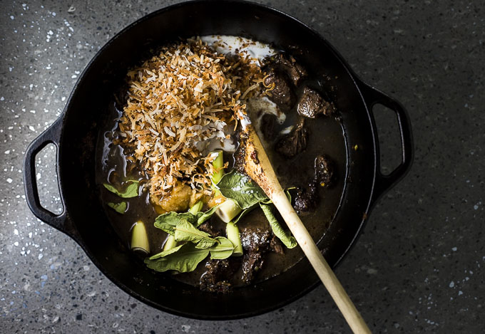 beef, lime leaves, toasted coconut and ingredients in a dutch oven
