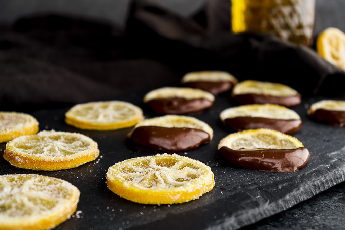 candied lemon slices on a plate