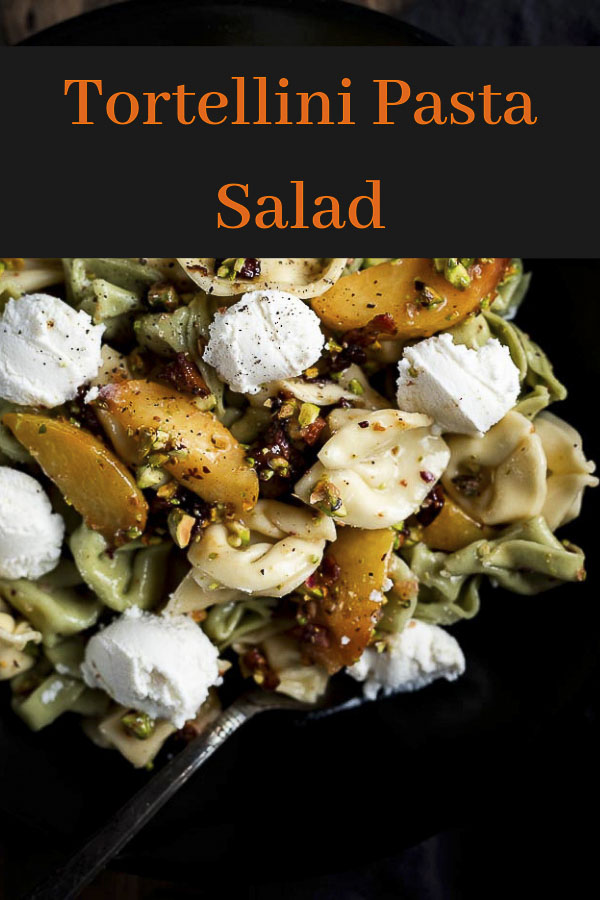 This Tortellini Pasta Salad is made with fresh grilled summer peaches, crispy fried pancetta, a deliciously sweet and tart white balsamic vinaigrette and topped with chopped pistachios and dollops of ricotta cheese. This grilled peach salad only takes 20 minutes to make and might just be the best summer salad ever. Tortellini salad is sure to be a crowd pleaser at your next BBQ! #wenthere8this #tortellinisalad #grilledpeaches