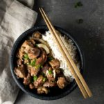 bowl of vietnamese caramel pork and rice