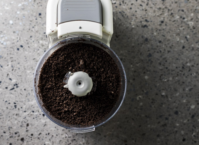 crushed oreos in a mini food processor