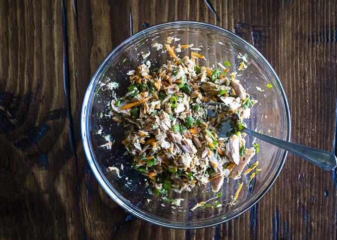 no mayo tuna salad in a glass bowl