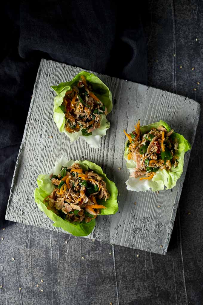 tuna salad lettuce cups on a platter