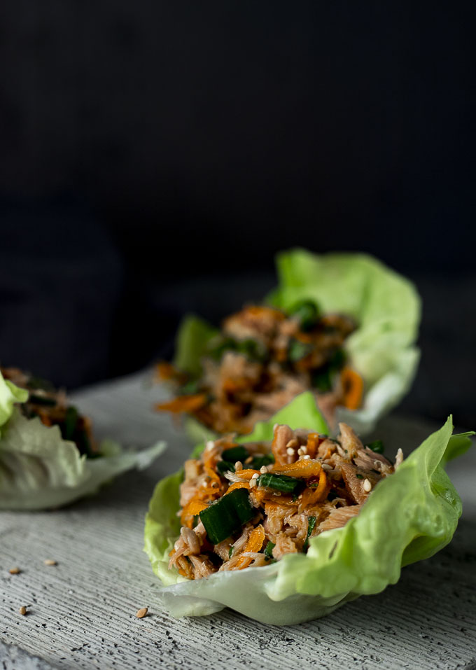 side view of no mayo tuna salad lettuce cups