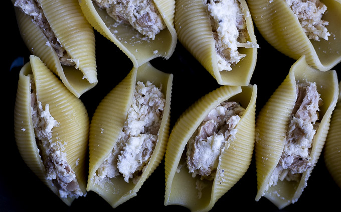 creamy tuna mixture in coked jumbo shell pasta