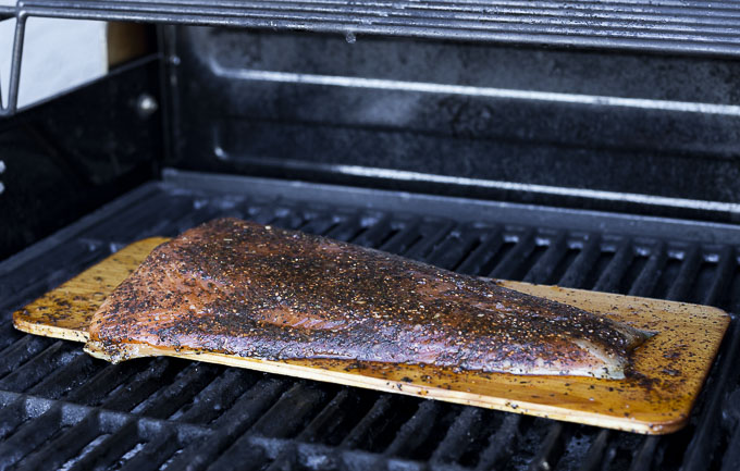 cedar plank salmon on the grill