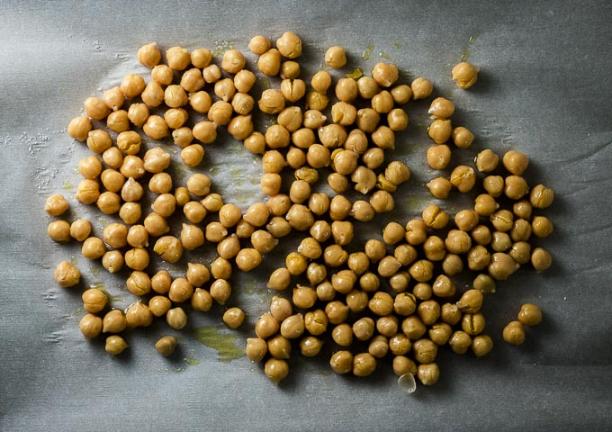 chickpeas on parchment paper