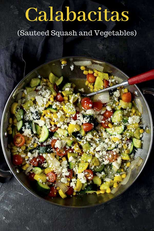 This Calabacitas Recipe has zucchini, squash, onions and tomatoes cooked up with sweet corn and green chilies then topped with crumbled, salty queso fresco! The super simple sauteed zucchini and squash recipe is ready in under 30 minutes, and is the perfect light and fresh summer side dish. Calabacitas also works great in tacos, burritos and on salads. #wenthere8this #calabacitas #sauteedsquash #succatash