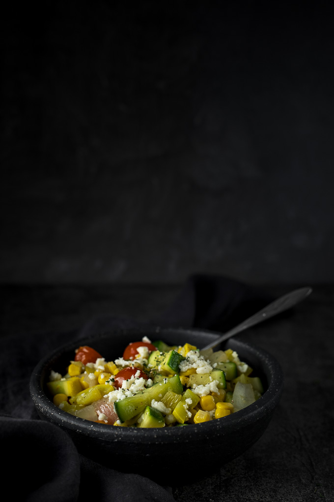 bowl of calabacitas (sauteed squash and vegetables)