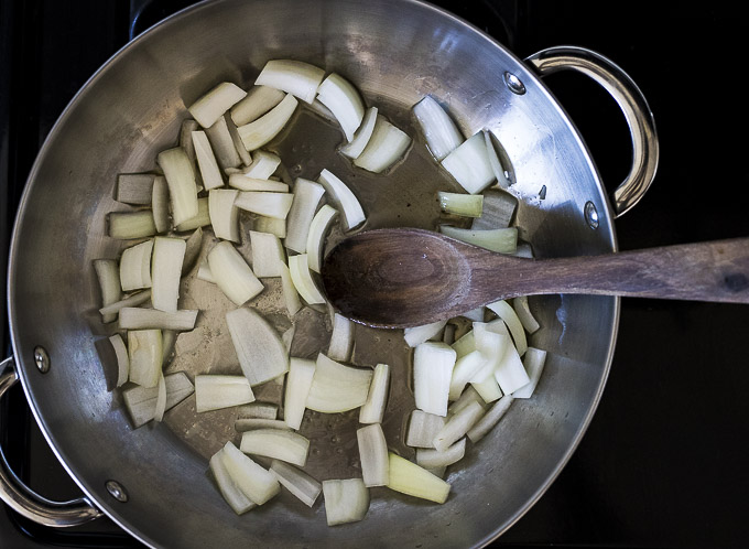 sauteed onions in a skillet