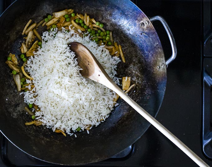 rice and veggies in a wok