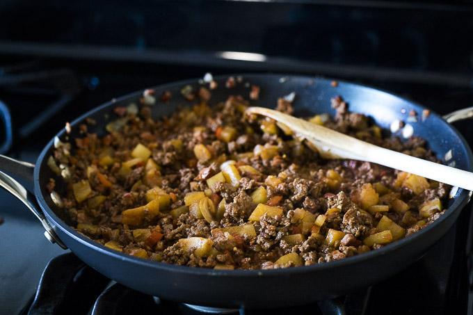 ground beef mixture in a skillet