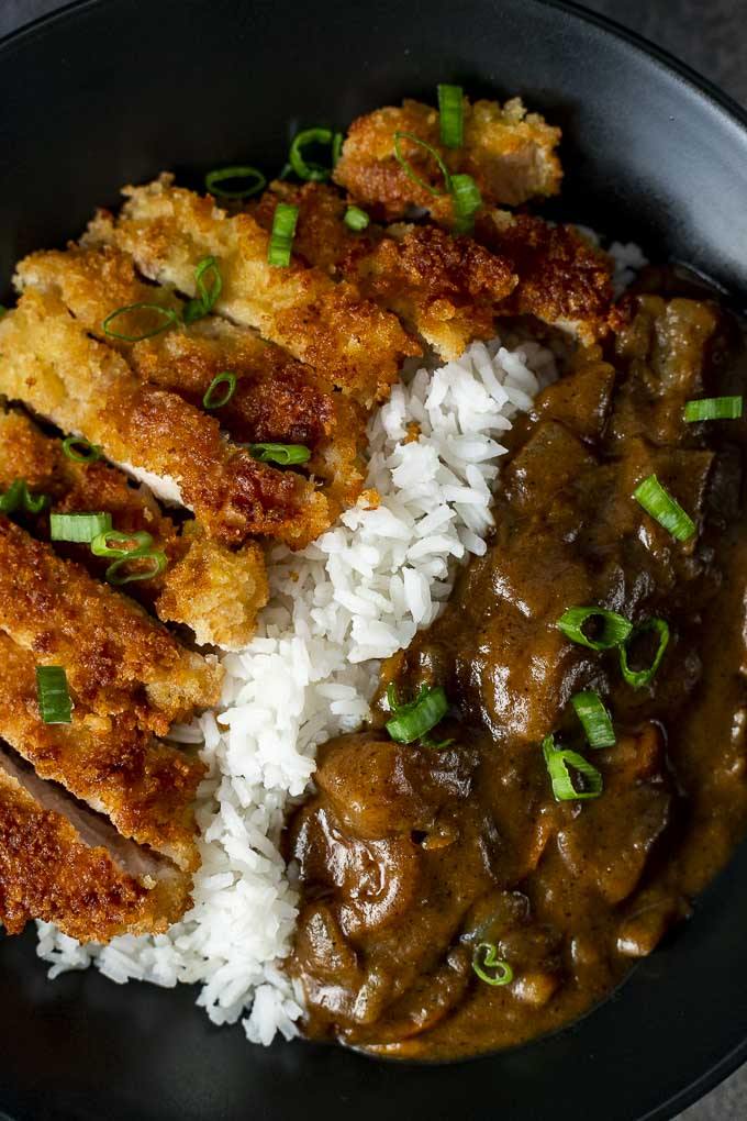 chicken katsu curry with brown curry gravy and white rice