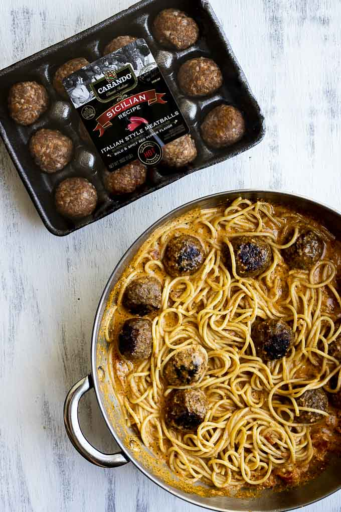 package of meatballs and spaghetti and meatballs in a skillet