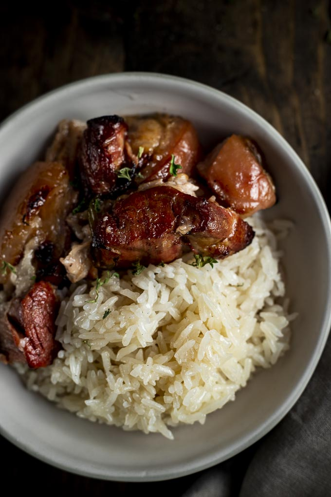 braised pork in a bowl with rice