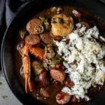 seafood gumbo with rice in a bowl