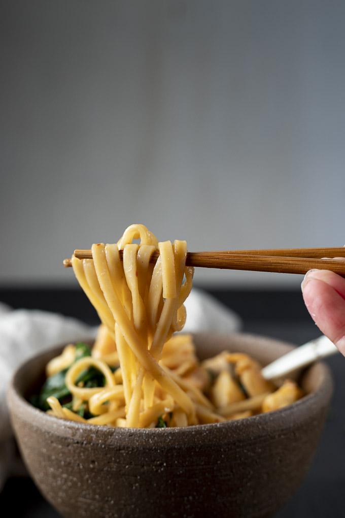 chopsticks holding noodles over a bowl of soup