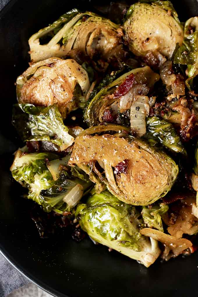 braised brussels sprouts in a bowl