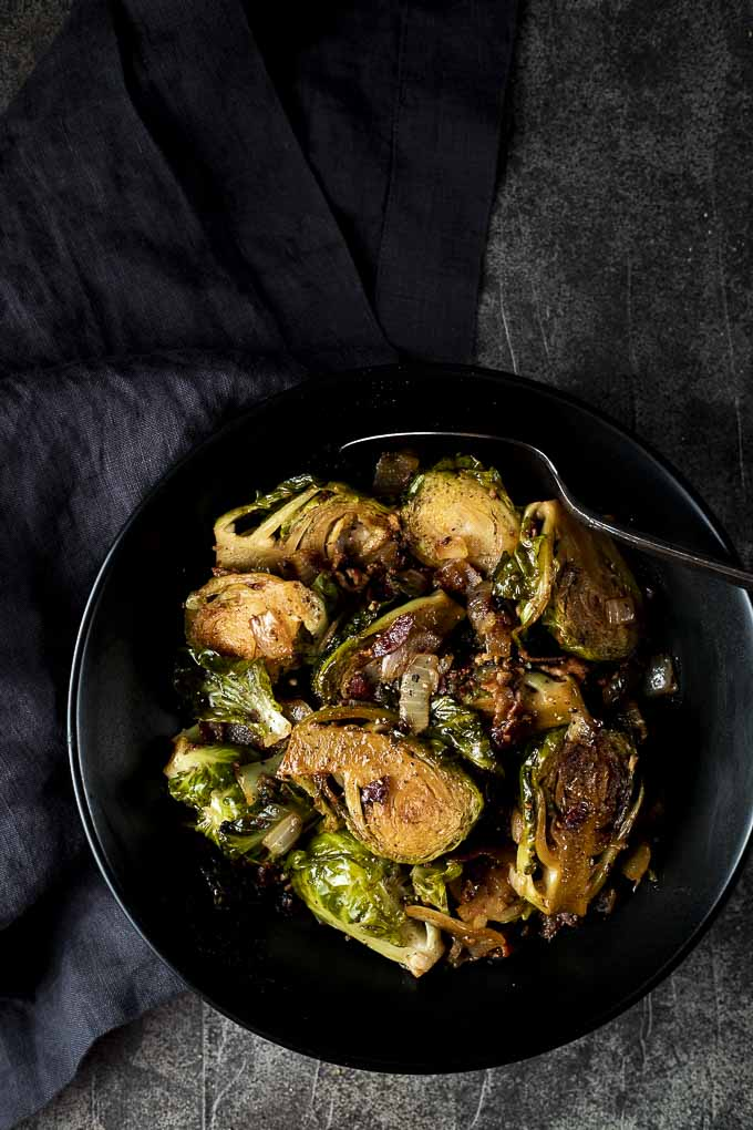 bowl of brussels sprouts with bacon