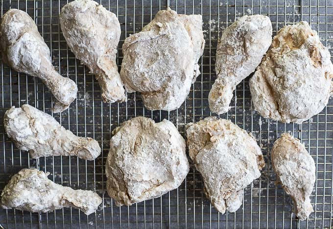 chicken coated in flour