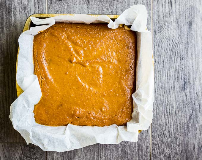 baked pumpkin pie in a square pan