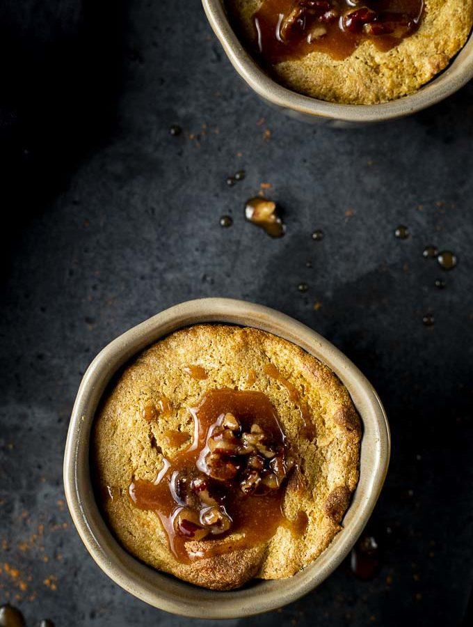 pumpkin souffle with pecan caramel sauce on top