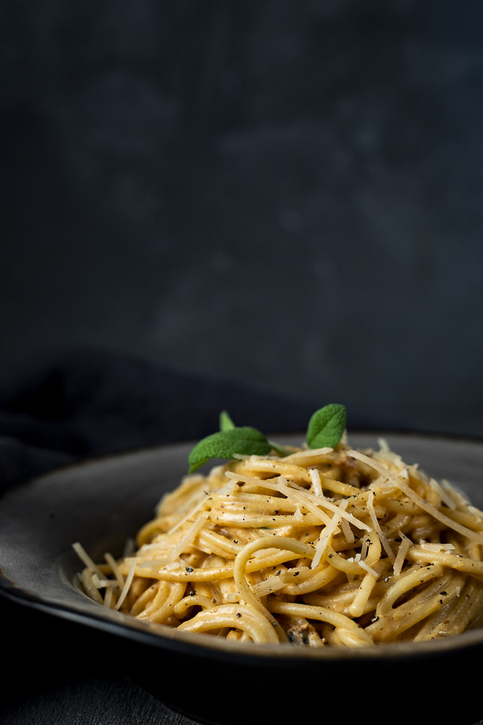 pasta in a cream sauce in a bowl