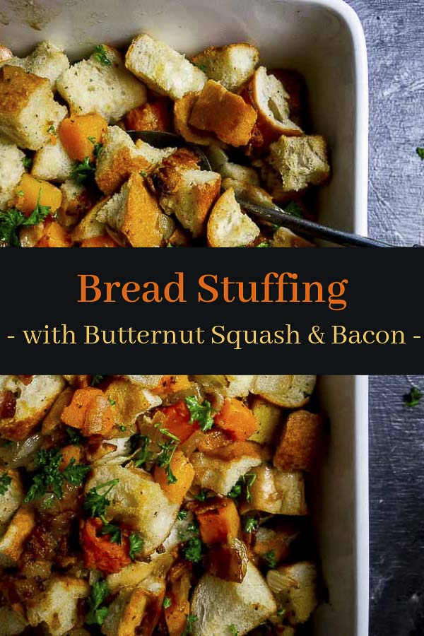 Crispy bacon, chewy cubes of toasted, buttery bread, & tender butternut squash make this Homemade Bread Stuffing a total MUST MAKE for your holiday dinner. A super easy homemade stuffing recipe, this butternut squash and bacon stuffing has less than 10 ingredients and takes only minutes to throw together. Plus this easy stuffing is perfect to make ahead! #wenthere8this #breadstuffing #thanksgivingstuffing