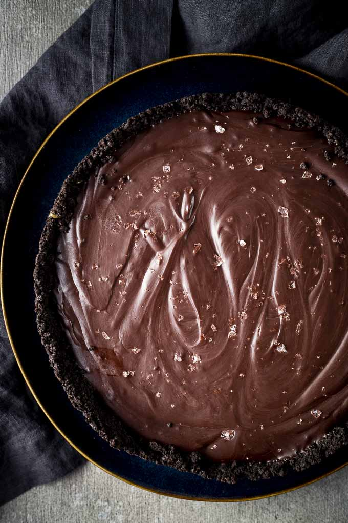 chocolate pie sprinkled with sea salt