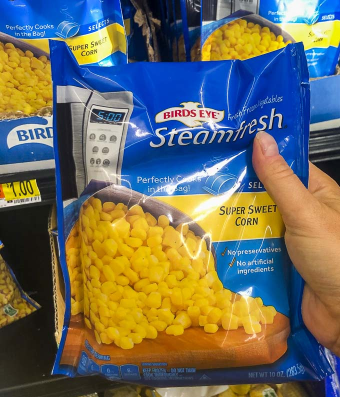 a bag of frozen corn