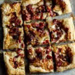 ham and cheese tart cut in squares