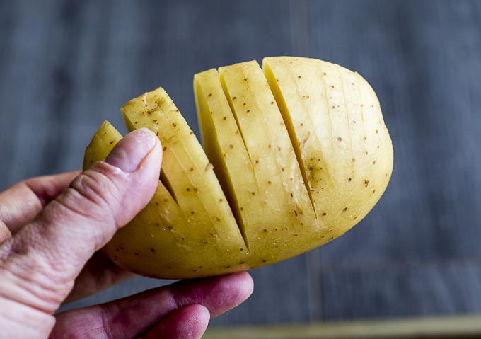 whole potato with slices in it
