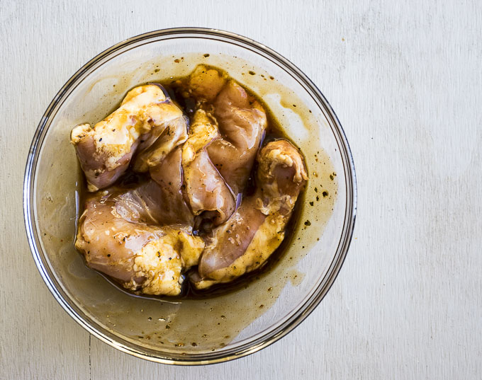 raw chicken in marinade