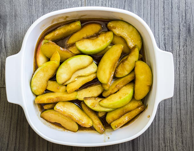 sauteed apples in a baking dish