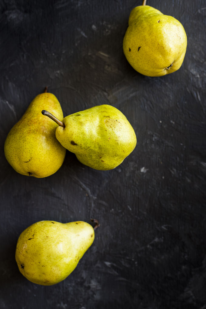 pears on a grey table