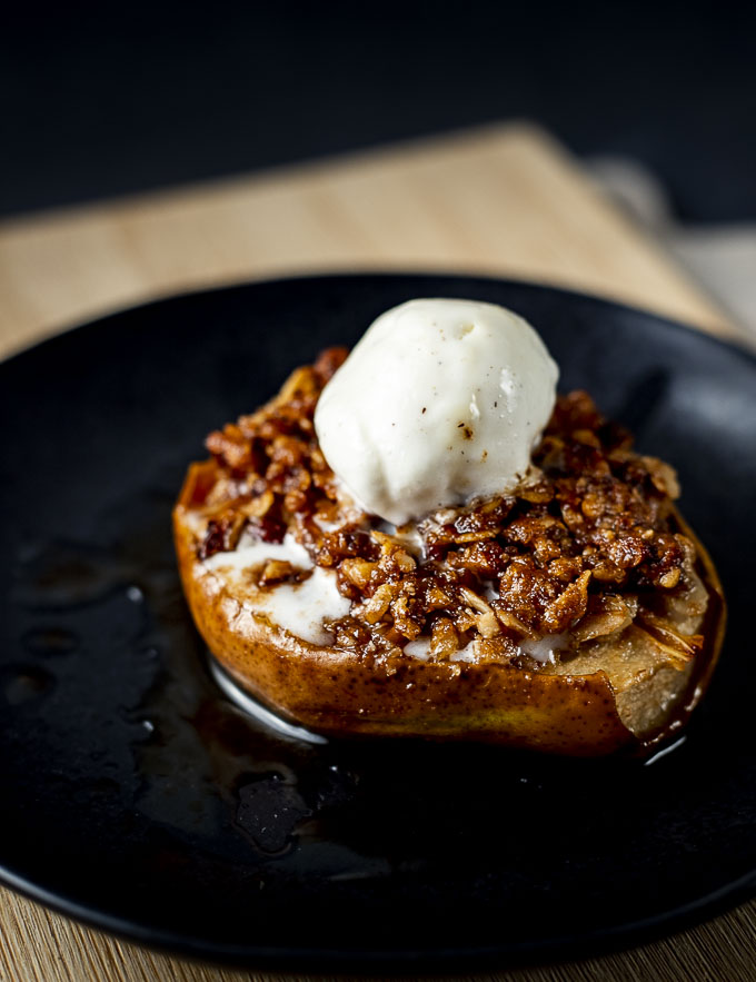 pear crisp topped with ice cream