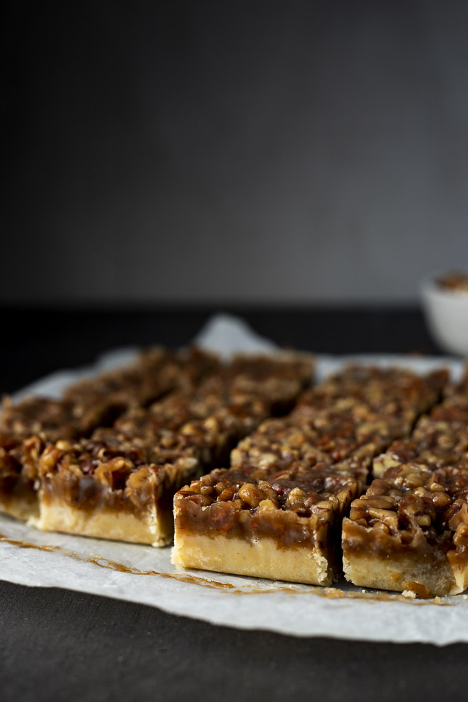 side view of a platter of pecan pie bars