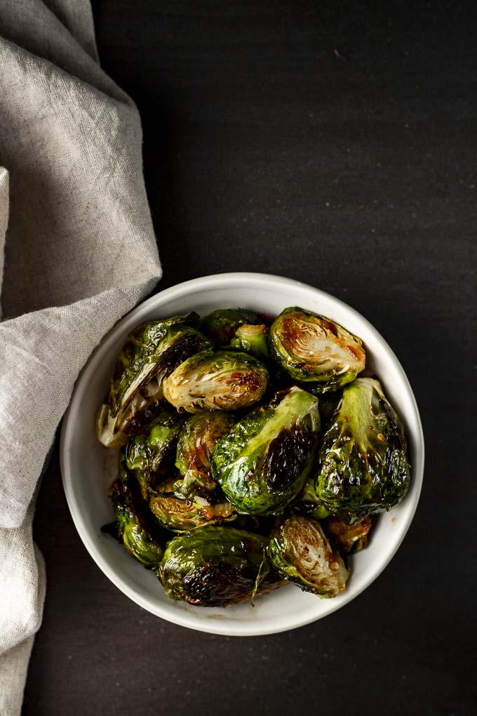 glazed roasted brussels sprouts in a bowl