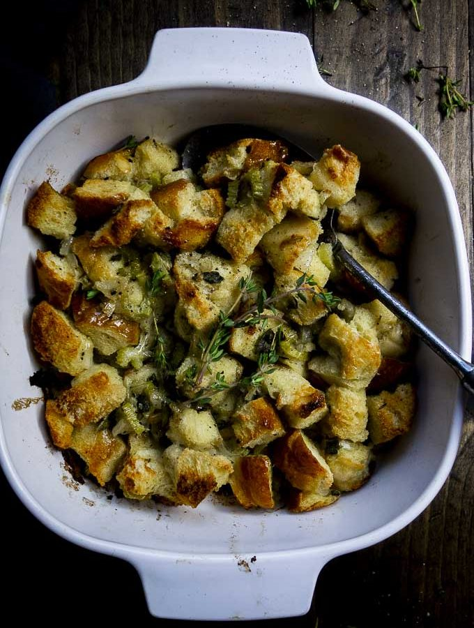 bread stuffing baked in a baking dish