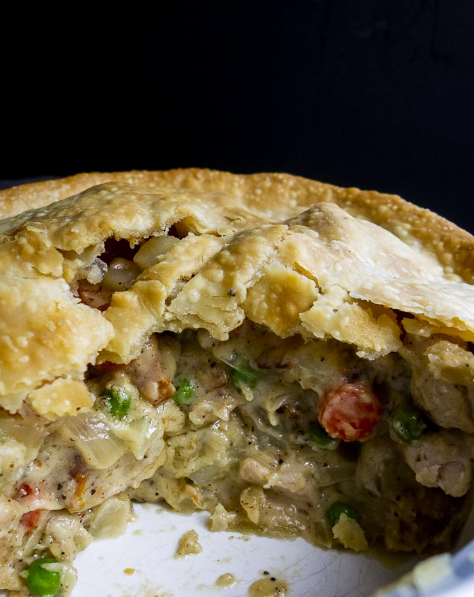 the inside of a turkey pot pie