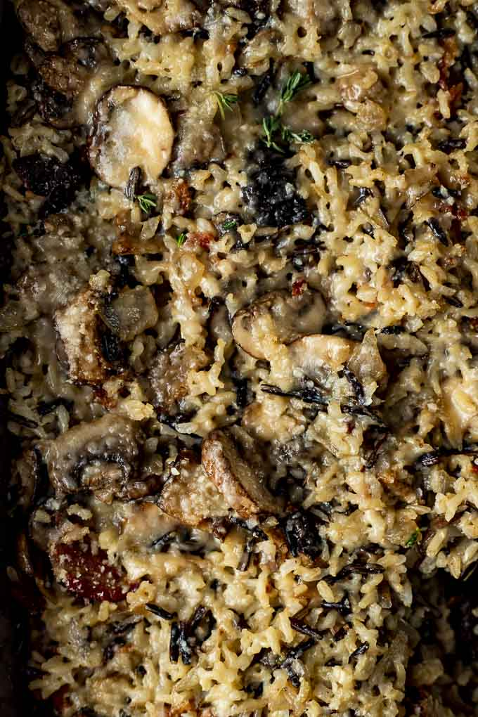 close up of rice stuffing with mushrooms