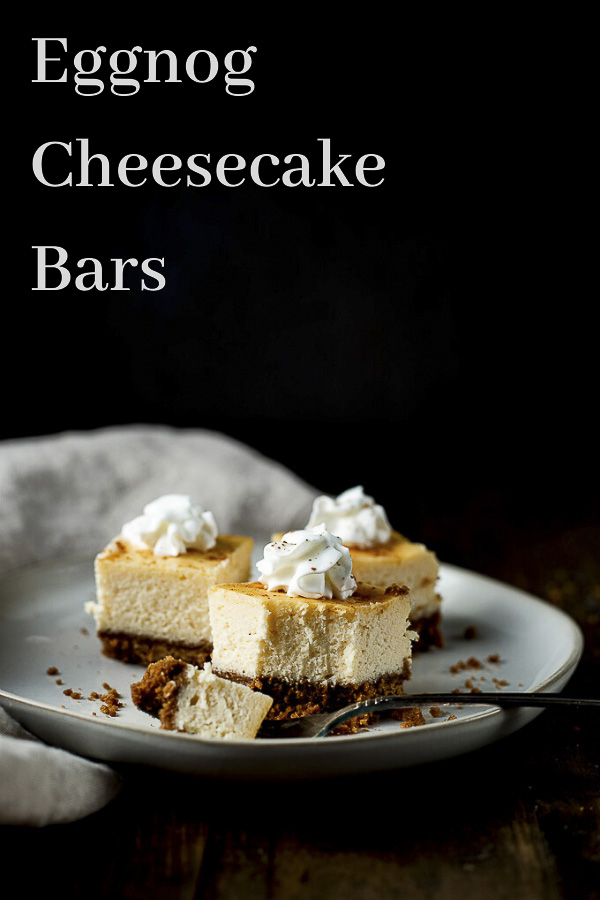 Eggnog Cheesecake Bars with Gingersnap Crust