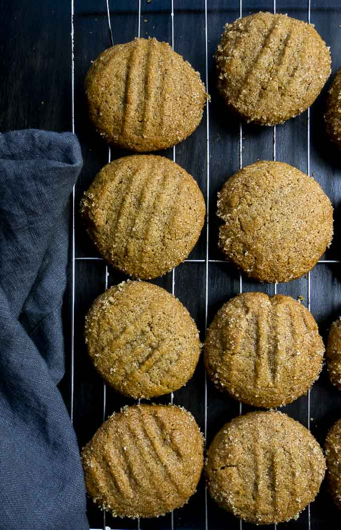 molasses cookies on a wire rack