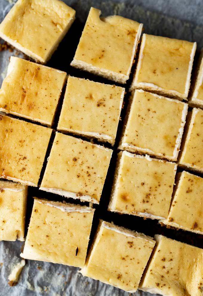sliced eggnog cheesecake bars