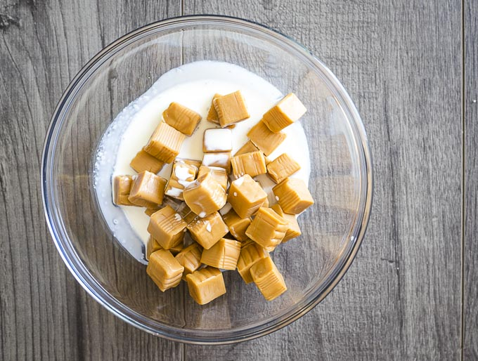 caramels and cream in a bowl