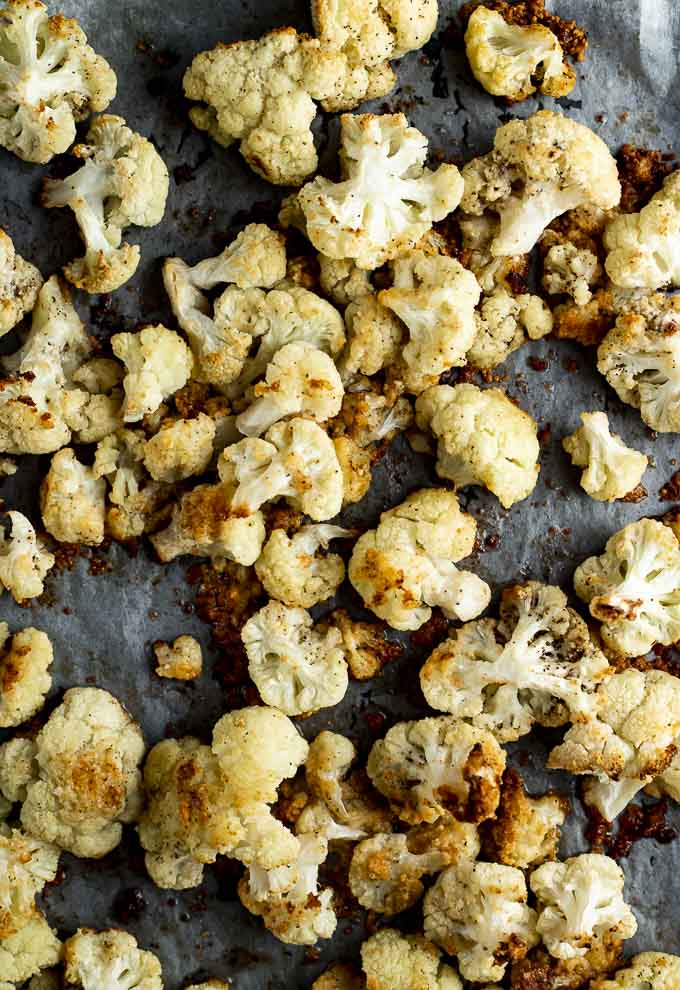 roasted cauliflower on parchment paper