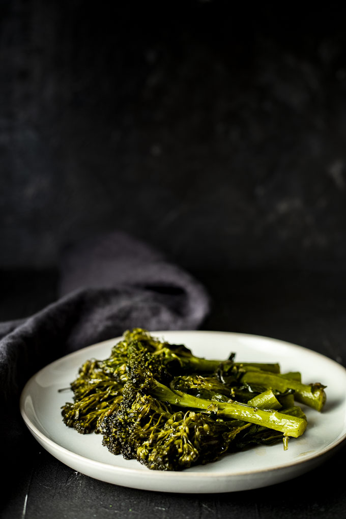 sauteed broccolini on a plate