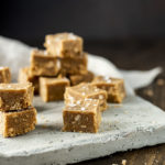 squares of peanut butter fudge on a platter