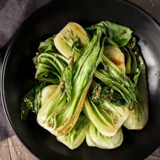 pieces of bok choy on a plate